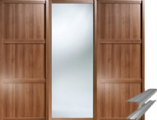 Shaker Style Walnut Frame 2 Panel and 1 Mirror Door & Track Set to suit an opening width of 2692mm